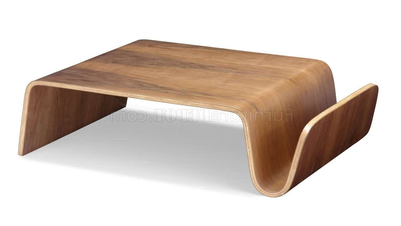 Walnut Bentwood Modern Artistic Coffee Table Regarding Famous Curve Coffee Tables (View 17 of 20)