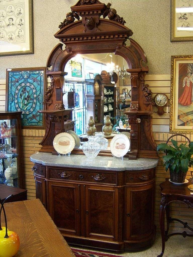 Walnut Sideboard, Victorian Renaissance Revival, Marble Top Carved In Antique Marble Top Sideboards (View 8 of 20)