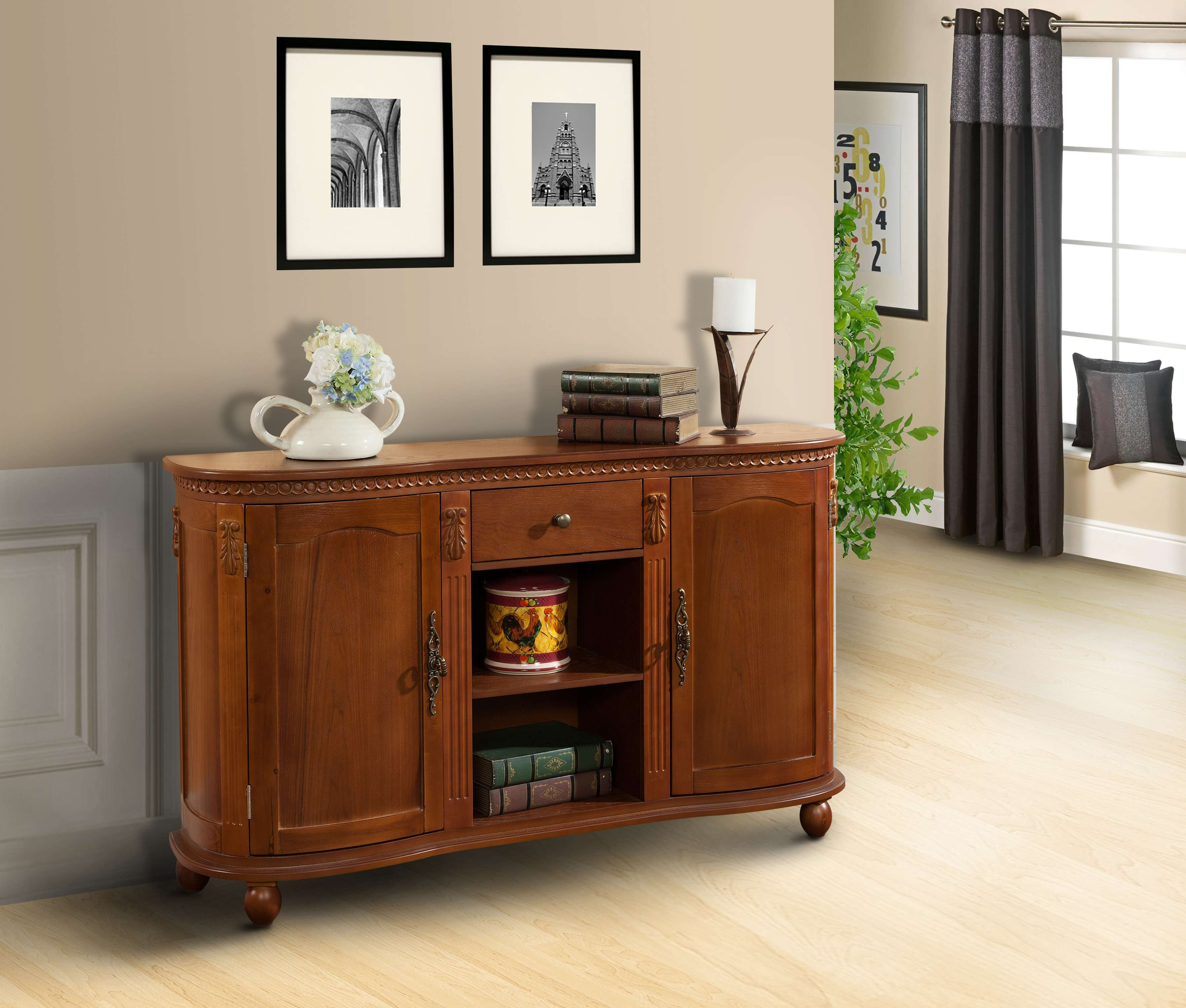 Walnut Wood Sideboard Buffet Console Table With Storage Drawer Within Sideboards Buffet Furniture (View 13 of 20)