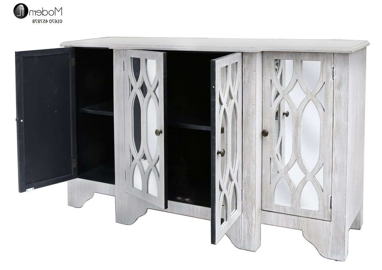 Washed Wood 4 Door Large Sideboard With Mirrored Doors Mirrored Intended For White Mirrored Sideboards (View 12 of 20)