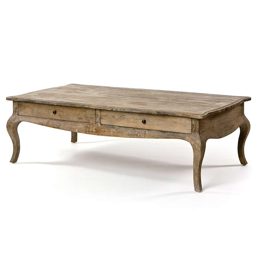 Weathered French Wood Coffee Table Cabriole Legs Pertaining To Most Popular French Country Coffee Tables (View 17 of 20)