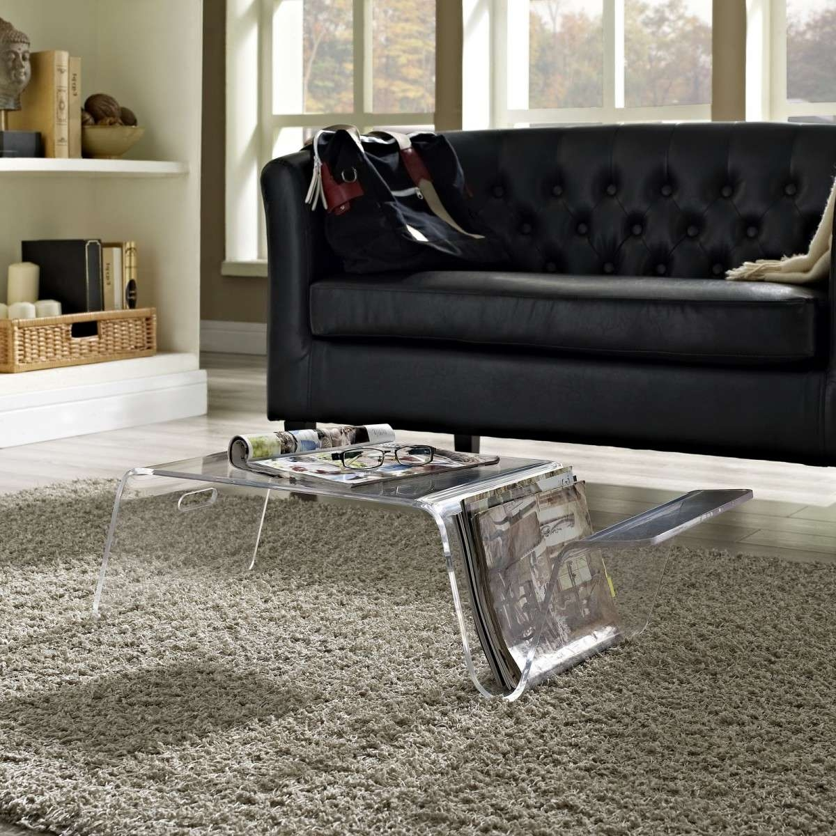 Well Known Acrylic Coffee Tables With Magazine Rack With Living Room Filled Black Leather Sofa And Clear Acrylic Coffee (View 15 of 20)