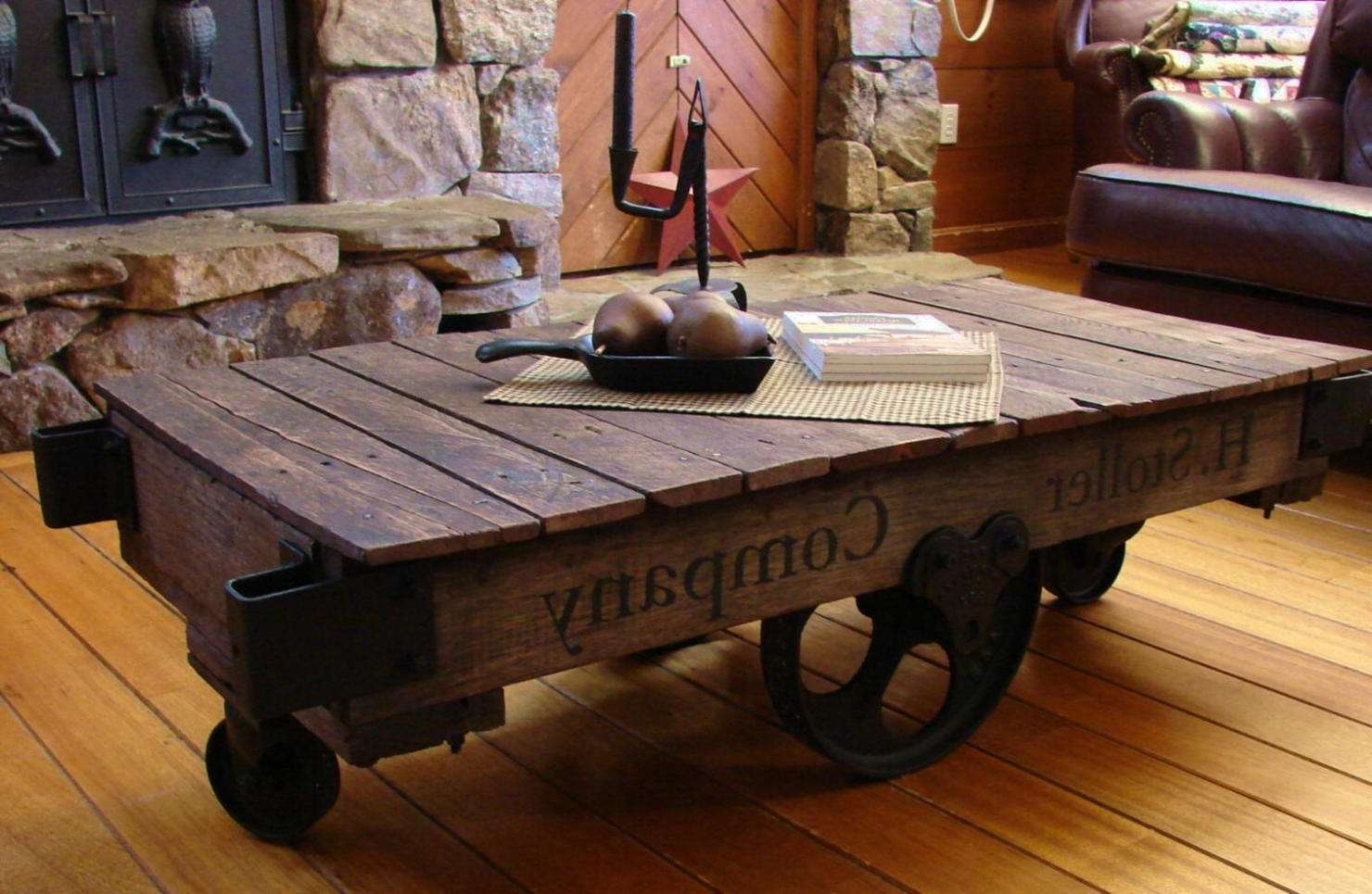 Well Known Antique Rustic Coffee Tables Regarding Vintage Industrial Cart Coffee Table Rustic With Casters An / Thippo (View 6 of 20)