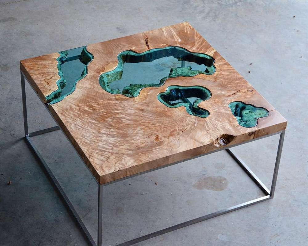 Well Known Art Coffee Tables With Regard To Wood Tables And Wall Art Embedded With Glass Rivers And Lakes (View 5 of 20)
