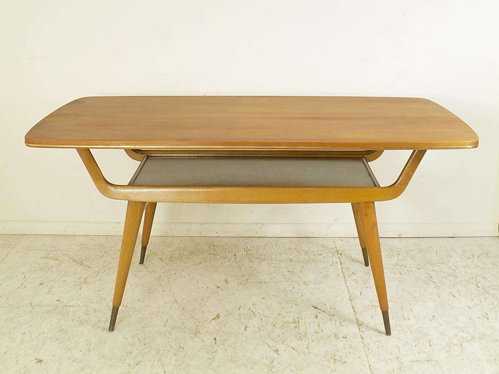 Well Known Beech Coffee Tables Throughout Vintage Walnut & Beech Coffee Table, 1960s For Sale At Pamono (View 4 of 20)