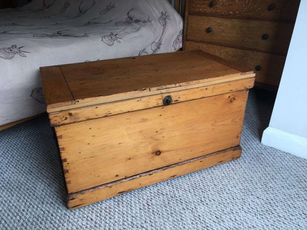 Well Known Blanket Box Coffee Tables In Antique Wooden Pine Chest Trunk Kist Blanket Box Wooden Coffee (View 6 of 20)