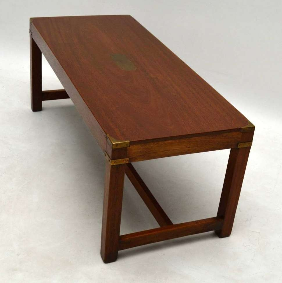 Well Known Campaign Coffee Tables With Regard To Coffee Tables : Antique Mahogany Military Campaign Coffee Table To (View 20 of 20)