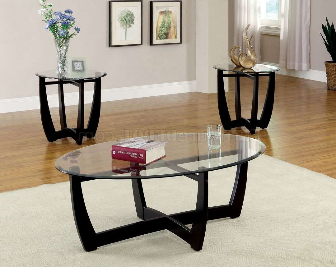 Well Known Coffee Table With Matching End Tables With Cm4848 3pk Dafni Coffee Table & 2 End Tables 3pc Set In Black (View 7 of 20)