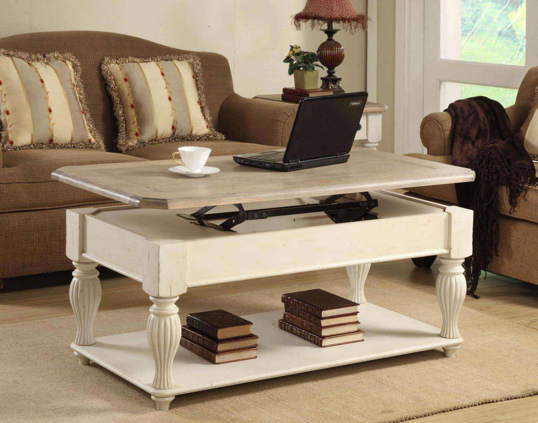 Well Known Coffee Tables With Lift Top Storage With Coffee Tables : Brown Varnished Wood Lift Top Coffee Table With (View 3 of 20)