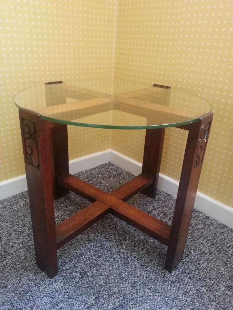 Well Known Coffee Tables With Rounded Corners Pertaining To Small Corner Round Coffee Table With Mahogany Wooden Frame And (View 3 of 20)