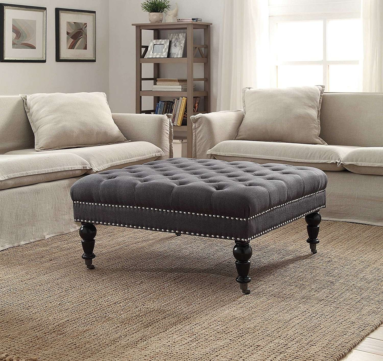 Well Known Fabric Coffee Tables Within Coffee Tables : Square Cocktail Ottoman Fabric Coffee Table Suede (View 12 of 20)