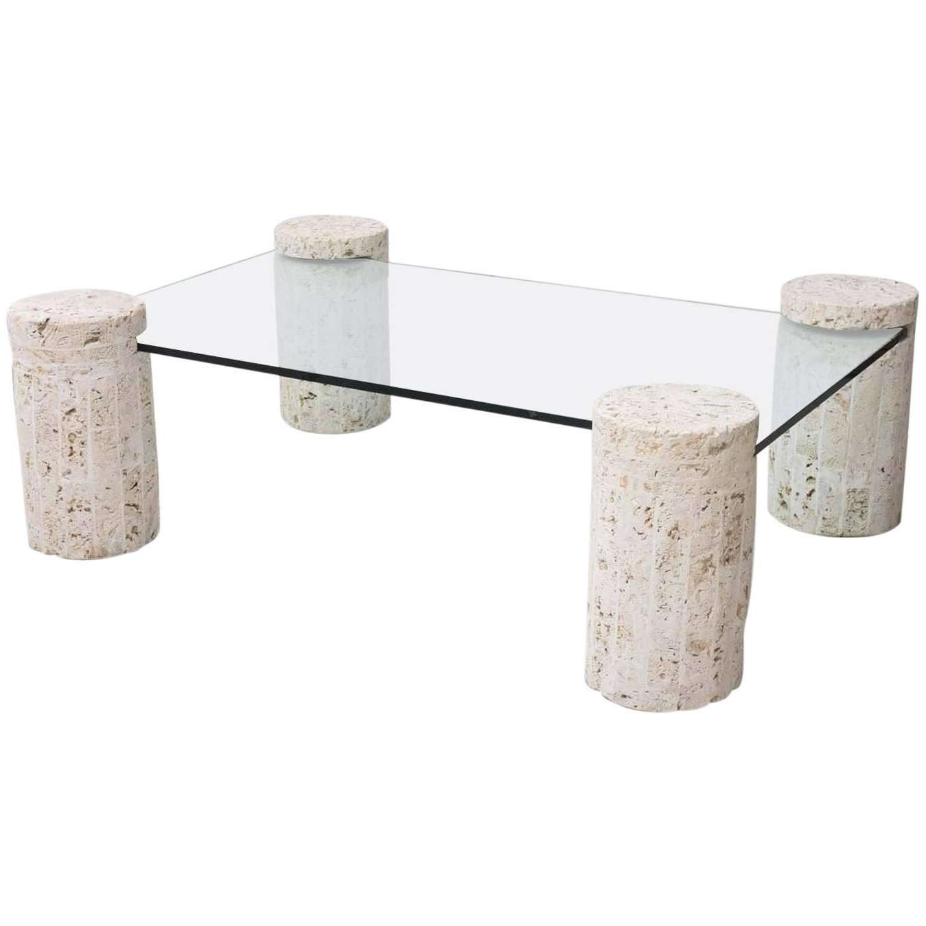 Well Known Glass And Stone Coffee Table With Coral Stone Coffee Table With Glass Top For Sale At 1stdibs (View 15 of 20)