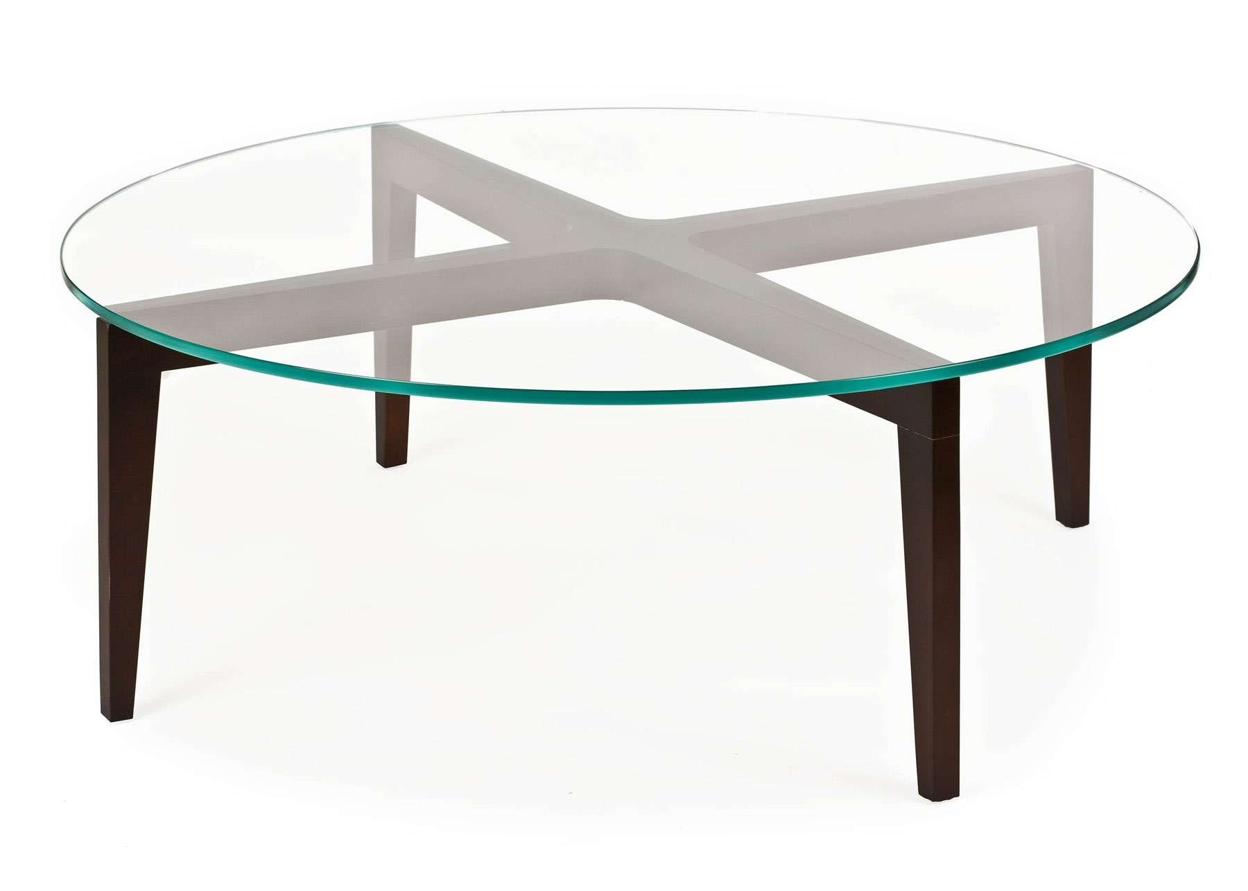 Well Known Glass Circle Coffee Tables Regarding Adorable Round Glass Coffee Table Wood Base For Home Interior (View 6 of 20)