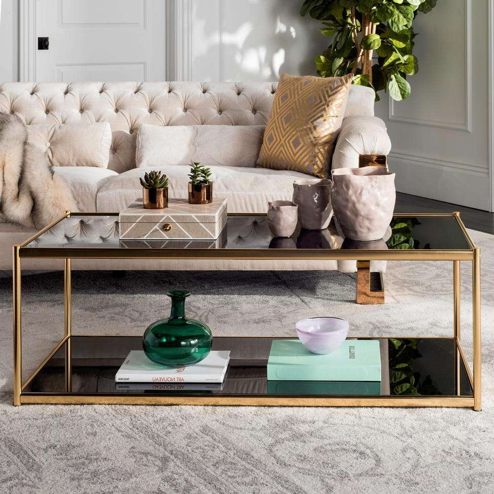 Well Known Glass Gold Coffee Tables Pertaining To Safavieh Zola Glass/chrome Coffee Table Mmt6000a – The Home Depot (View 5 of 20)