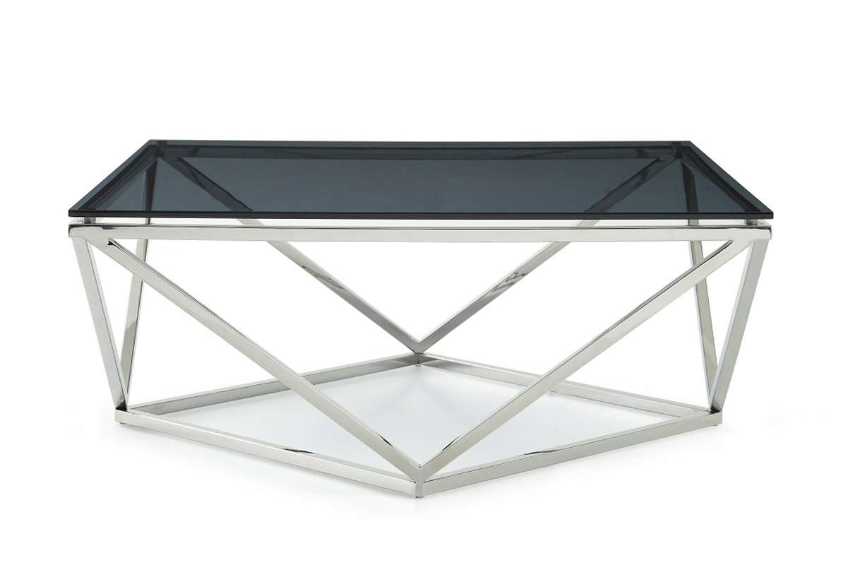 Well Known Glass Steel Coffee Tables Within Vector Modern Smoked Glass & Stainless Steel Coffee Table (View 14 of 20)