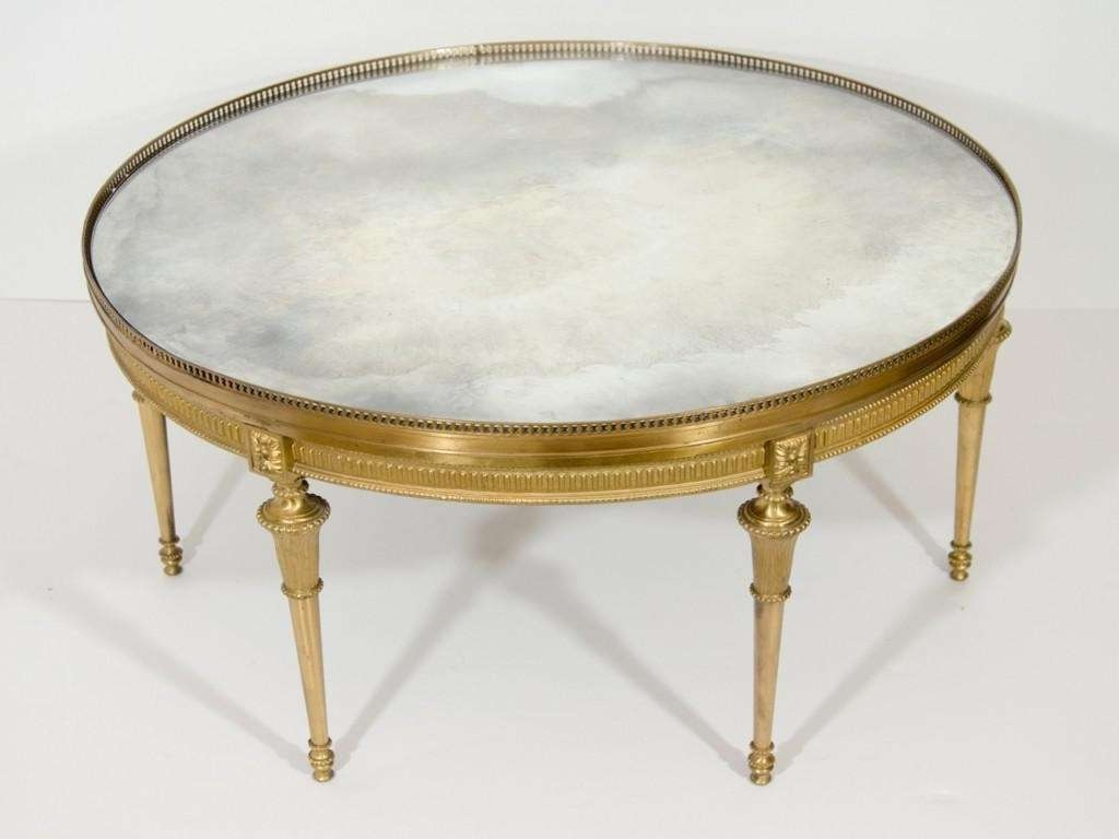 Well Known Gold Round Coffee Table For Round Gold Coffee Table Antonia Hollywood Regency Round Gold Metal (View 19 of 20)