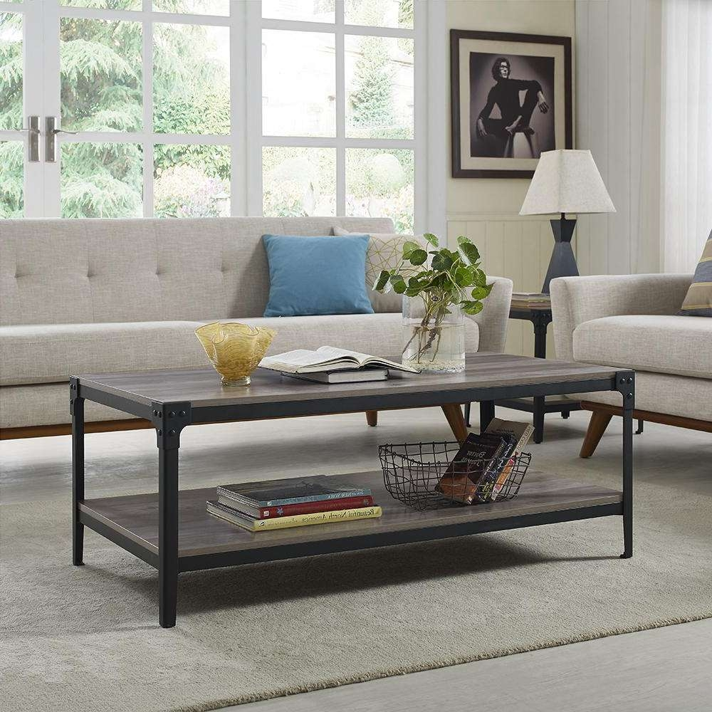 Well Known Gray Wood Coffee Tables With Regard To Walker Edison Furniture Company Angle Iron Rustic Wood Coffee (View 20 of 20)