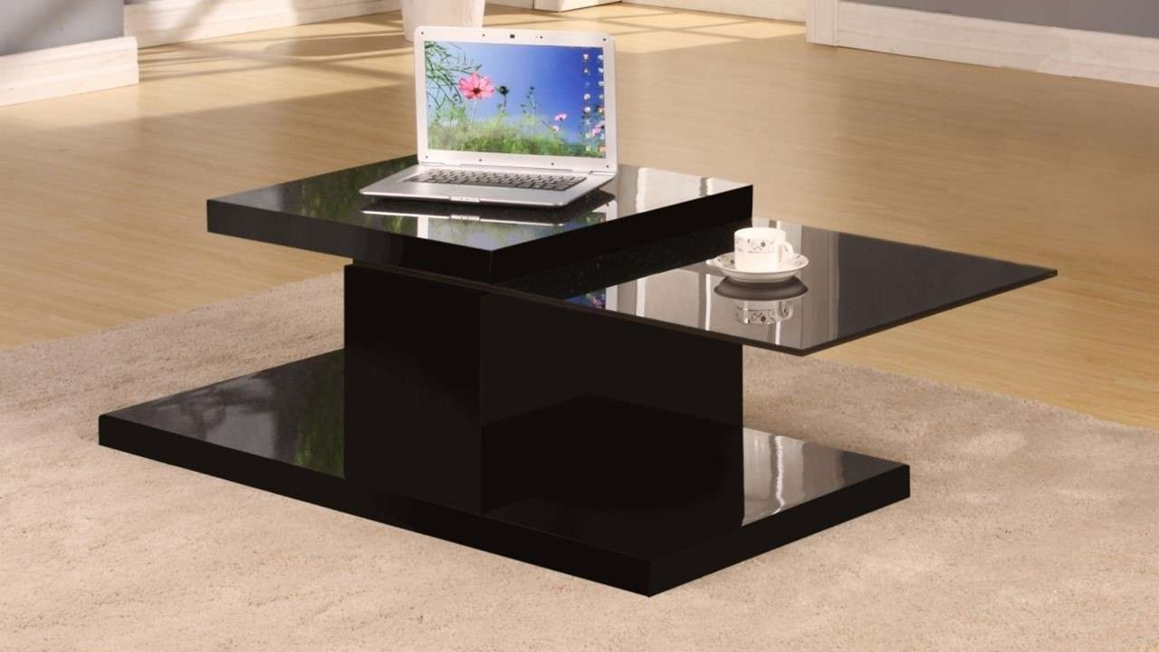 Well Known High Gloss Coffee Tables Pertaining To Rotating Black High Gloss Glass Coffee Table – Homegenies (View 13 of 20)
