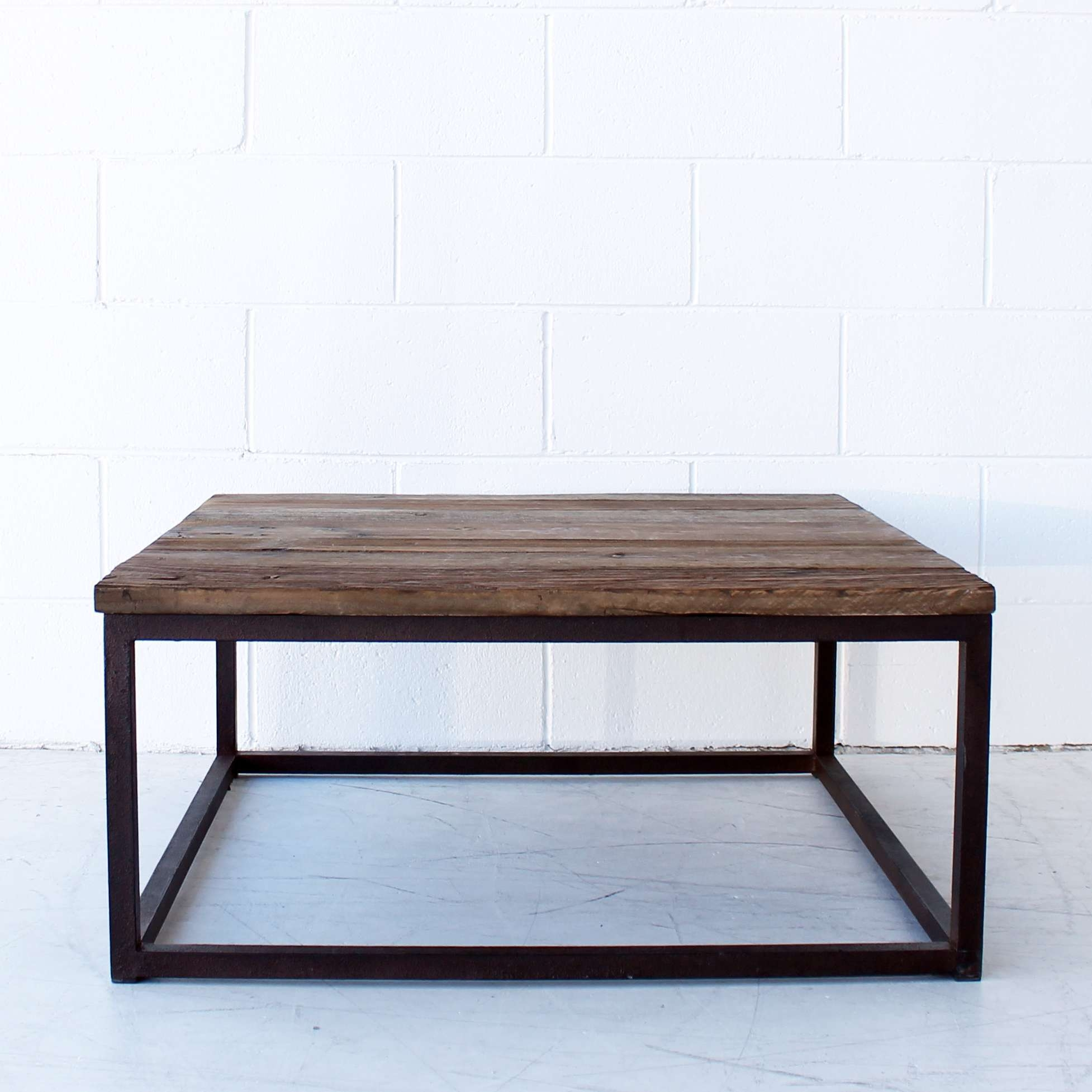 Well Known Metal Square Coffee Tables With Coffee Tables : Iron Coffee Table Wood Metal Industrial Black (View 13 of 20)