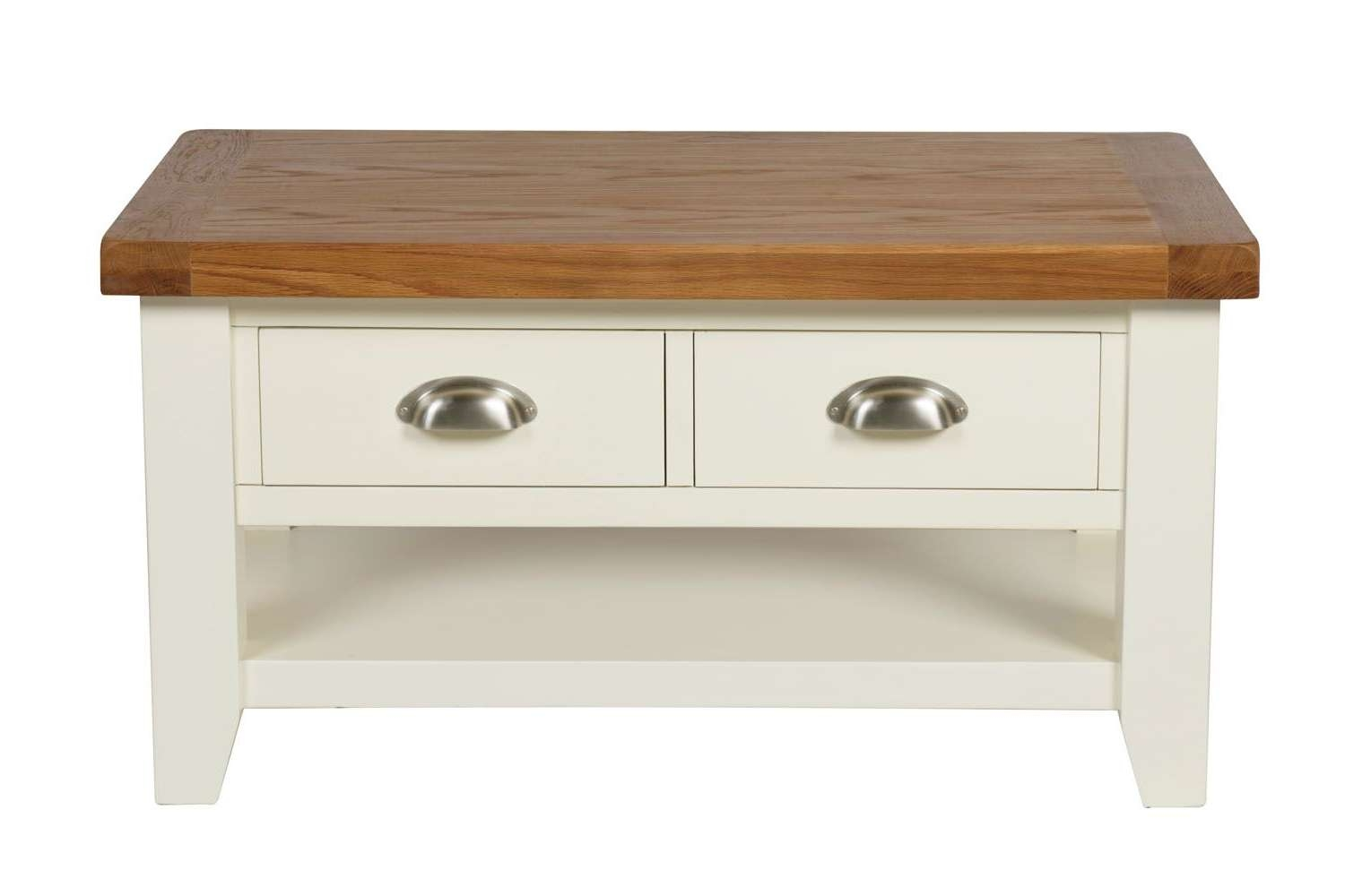 Well Known Oak And Cream Coffee Tables For Country Oak Cream Painted Coffee Table With Drawers (View 19 of 20)