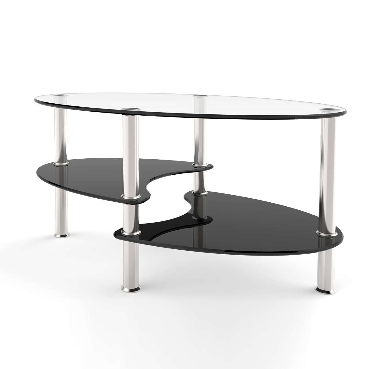 Well Known Oval Black Glass Coffee Tables For Ryan Rove Orion 38 Inch Oval Two Tier Clear And Black Glass Coffee (View 11 of 20)