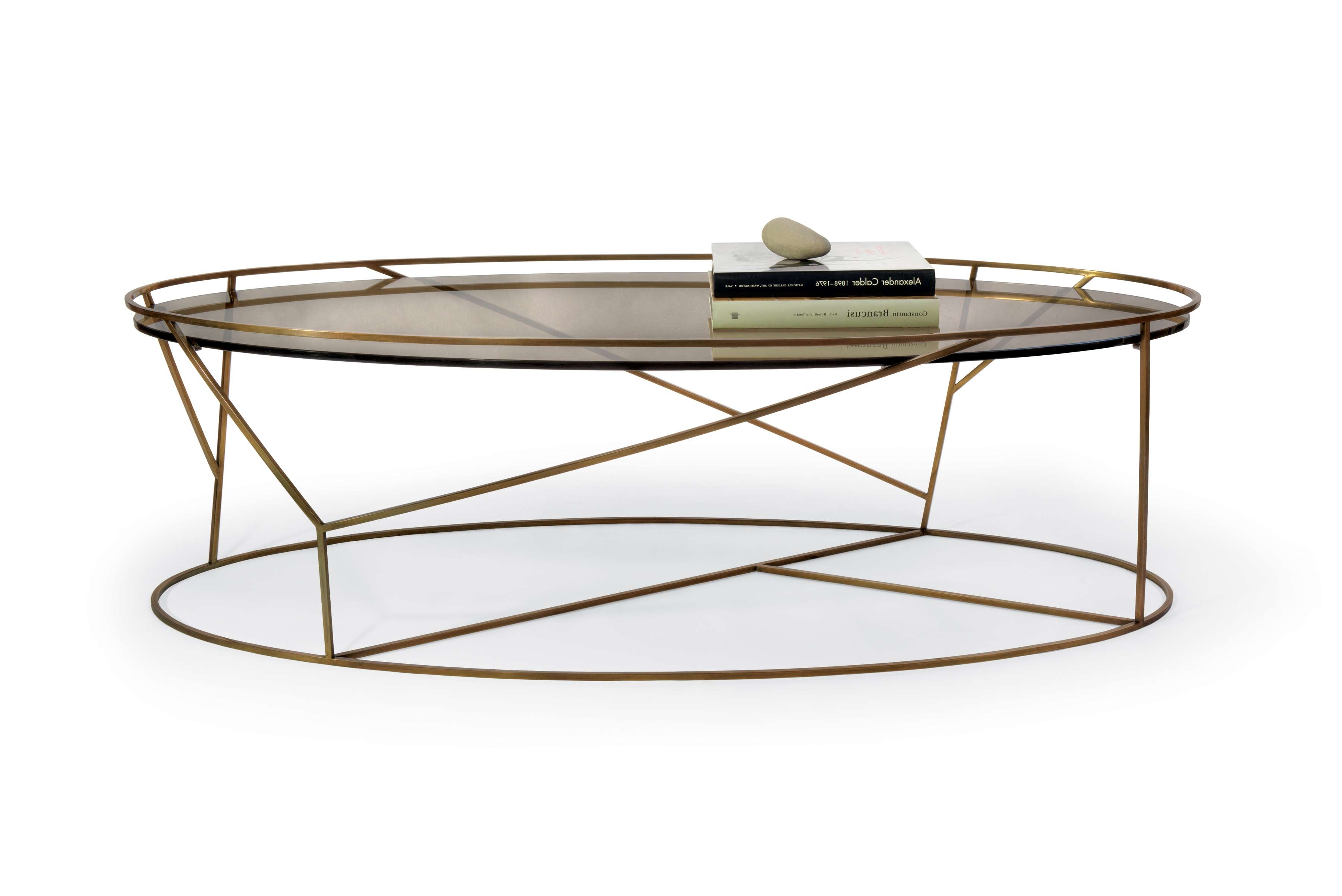 Well Known Oval Glass Coffee Tables Throughout Brass Frame Coffee Table With Oval Glass Top For Small Rustic (View 9 of 20)