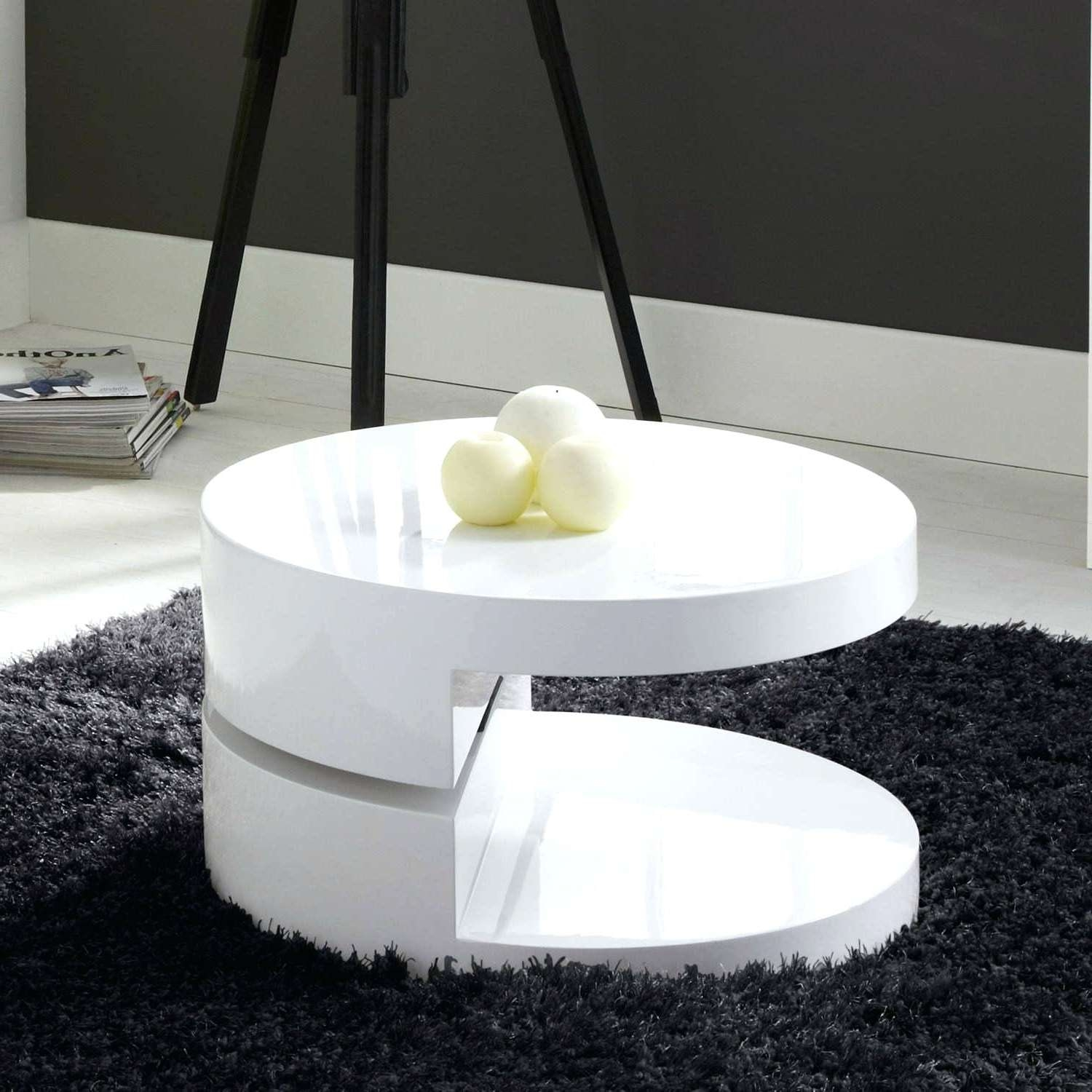 Well Known Round High Gloss Coffee Tables Pertaining To Coffee Tables White High Gloss High Gloss White Round Rotating Top (View 18 of 20)