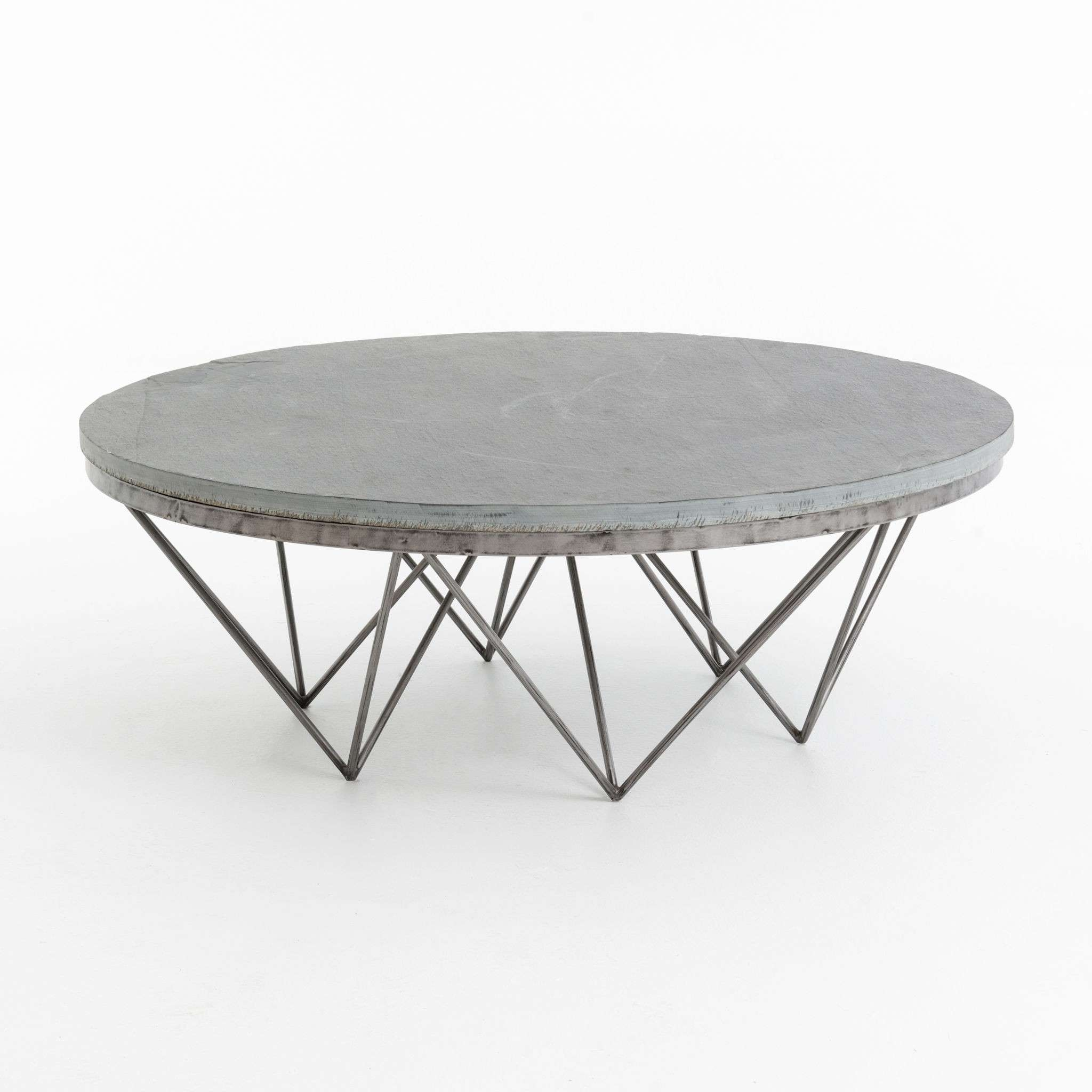 Well Known Round Steel Coffee Tables Throughout Coffee Tables : Metal Frame Coffee Table Black Square Glass Living (View 19 of 20)