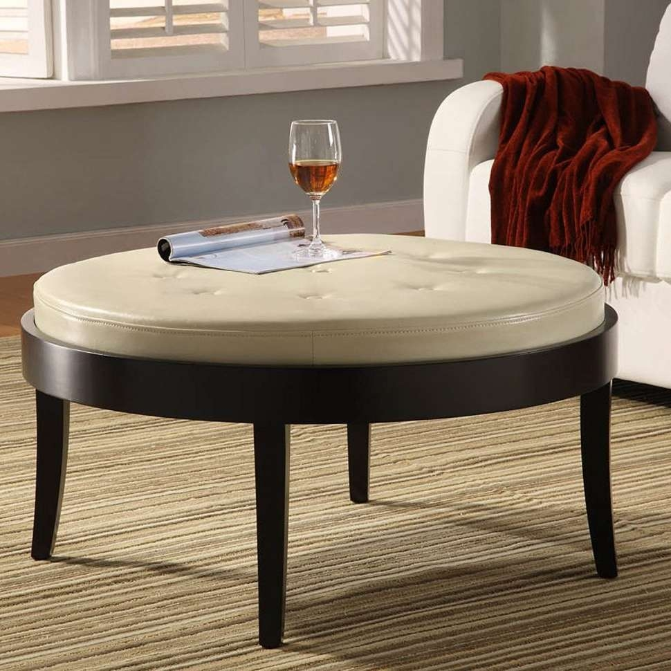 Well Known Round Upholstered Coffee Tables Throughout Coffee Tables : Square Upholstered Coffee Table Big Round Ottoman (View 17 of 20)