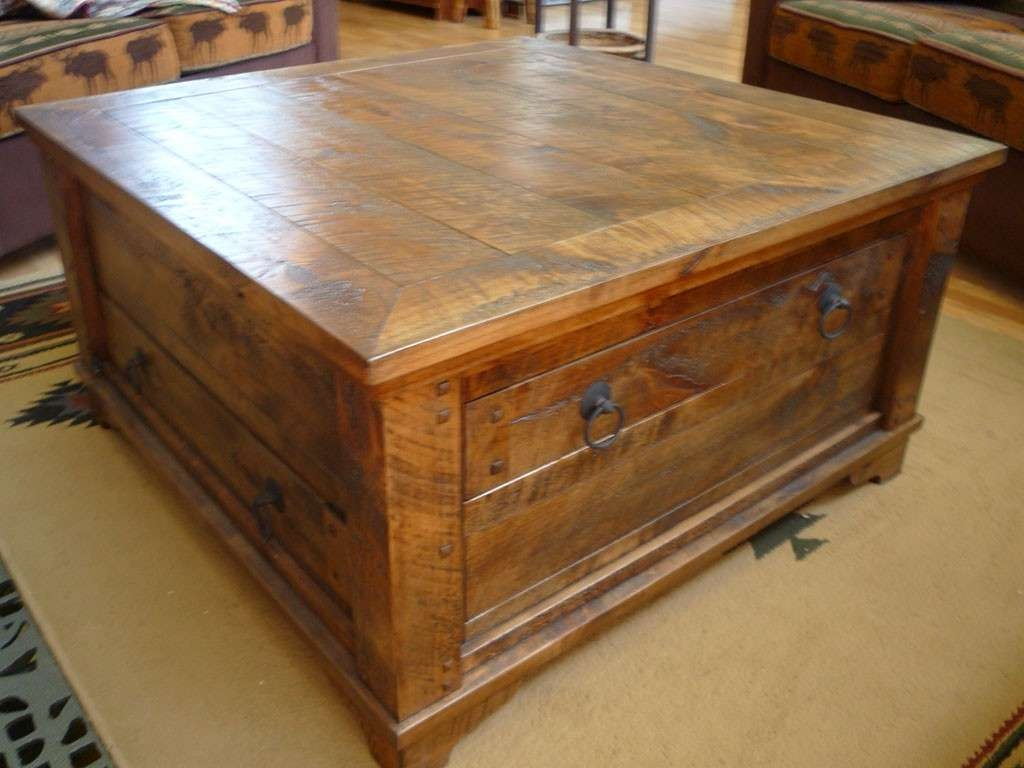 Well Known Rustic Coffee Table Drawers Intended For Rustic Country Coffee Table : Into The Glass – Travertine Square (View 3 of 20)
