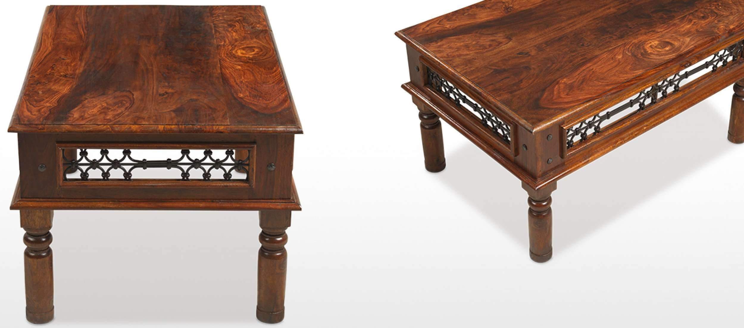 Well Known Sheesham Coffee Tables In Jali Sheesham 90 Cm Coffee Table (View 5 of 20)