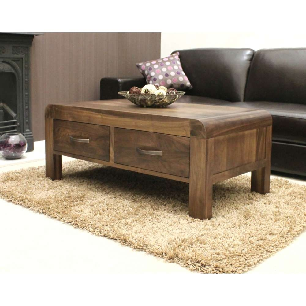 Well Known Solid Oak Coffee Table With Storage With Shiro Coffee Table Four Drawer Storage Solid Walnut Dark Wood (View 18 of 20)
