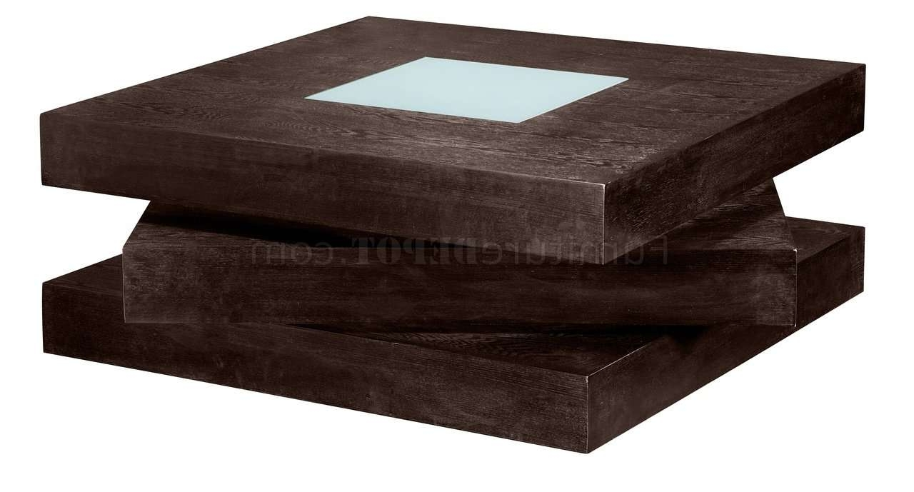 Well Known Square Shaped Coffee Tables With Regard To Chocolate Finish Square Shape Modern Coffee Table W/glass Inlay (View 13 of 20)