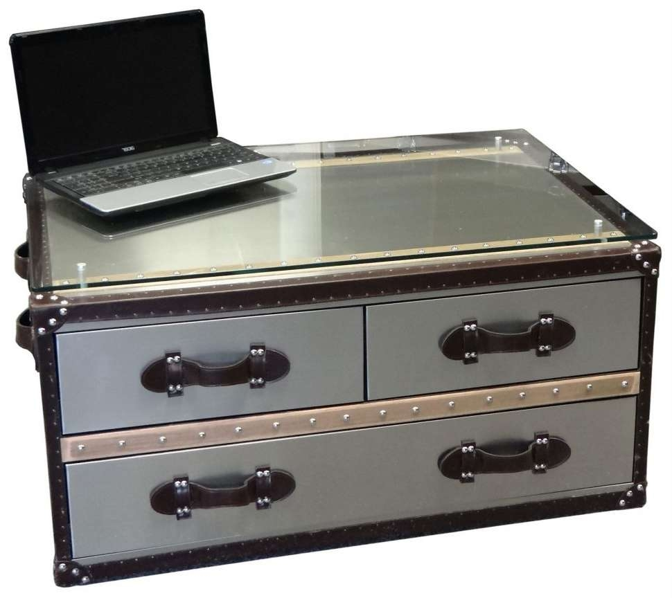 Well Known Steamer Trunk Stainless Steel Coffee Tables In Coffee Table : The Best Steamer Trunk Stainless Steel Coffee (View 4 of 20)