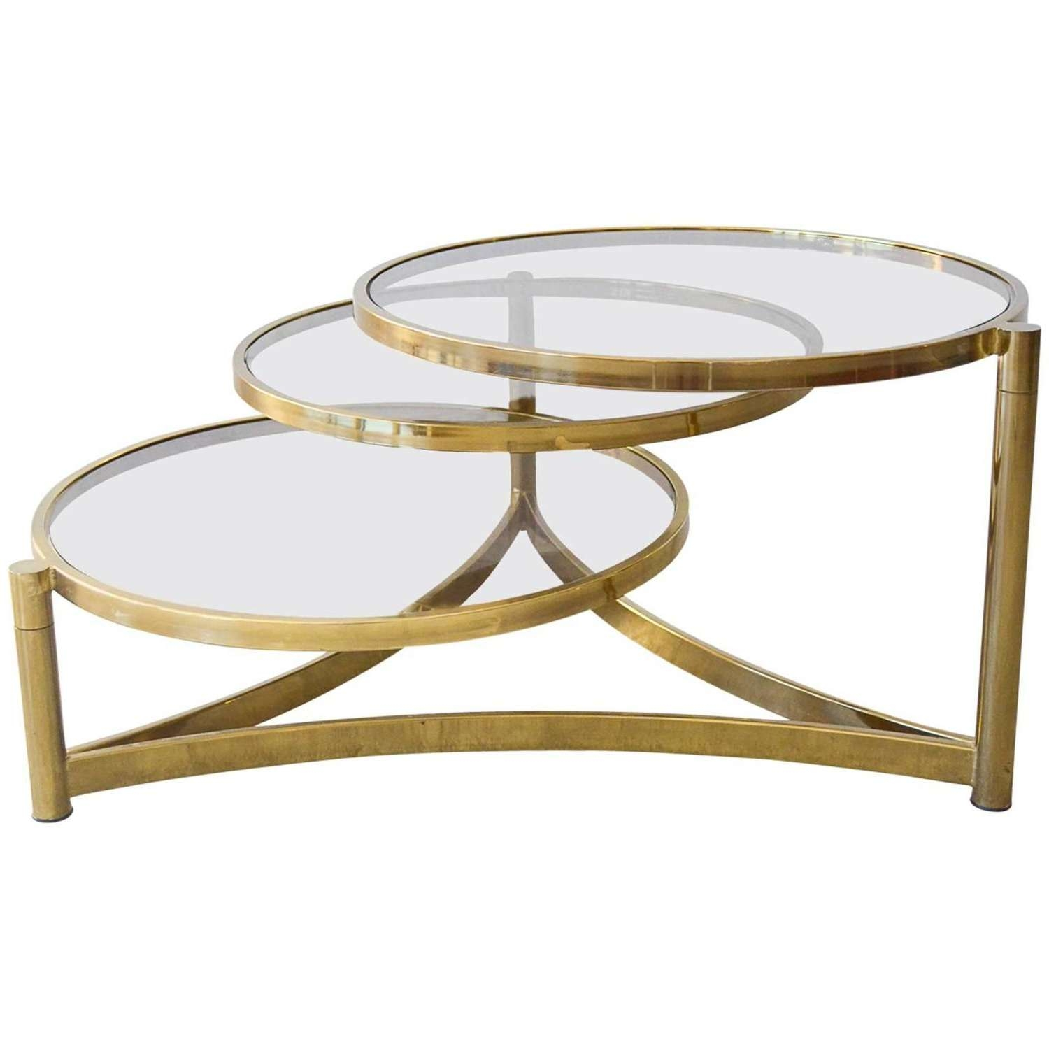 Well Known Swivel Coffee Tables Inside Milo Baughman Tri Level Brass And Glass Swivel Coffee Table At 1Stdibs (View 18 of 20)