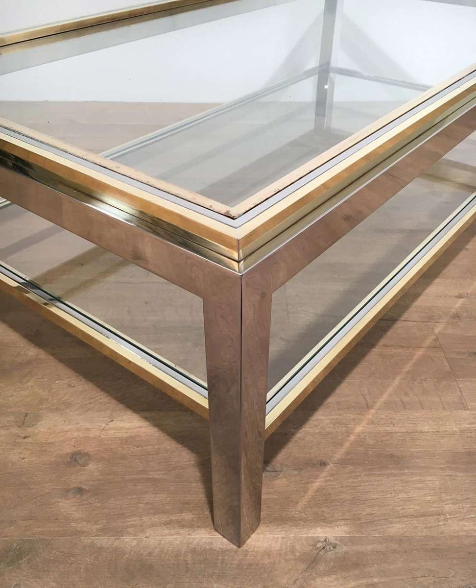 Well Known Vintage Glass Coffee Tables Intended For Vintage Glass & Brass Coffee Tablewilly Rizzo, 1970s For Sale (View 16 of 20)