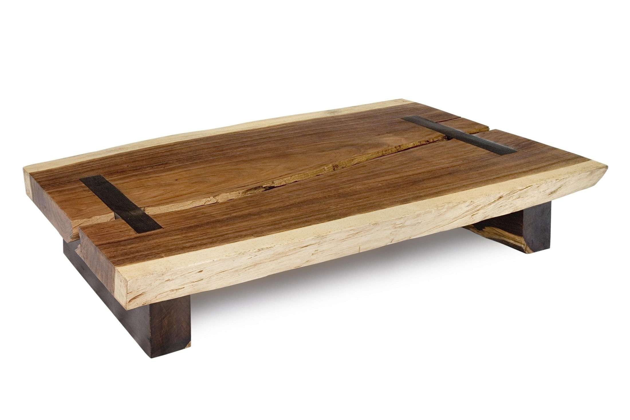 Well Known Wooden Coffee Tables Within Rectangle Brown Wooden Coffee Table With Double Black Wooden Bases (View 12 of 20)