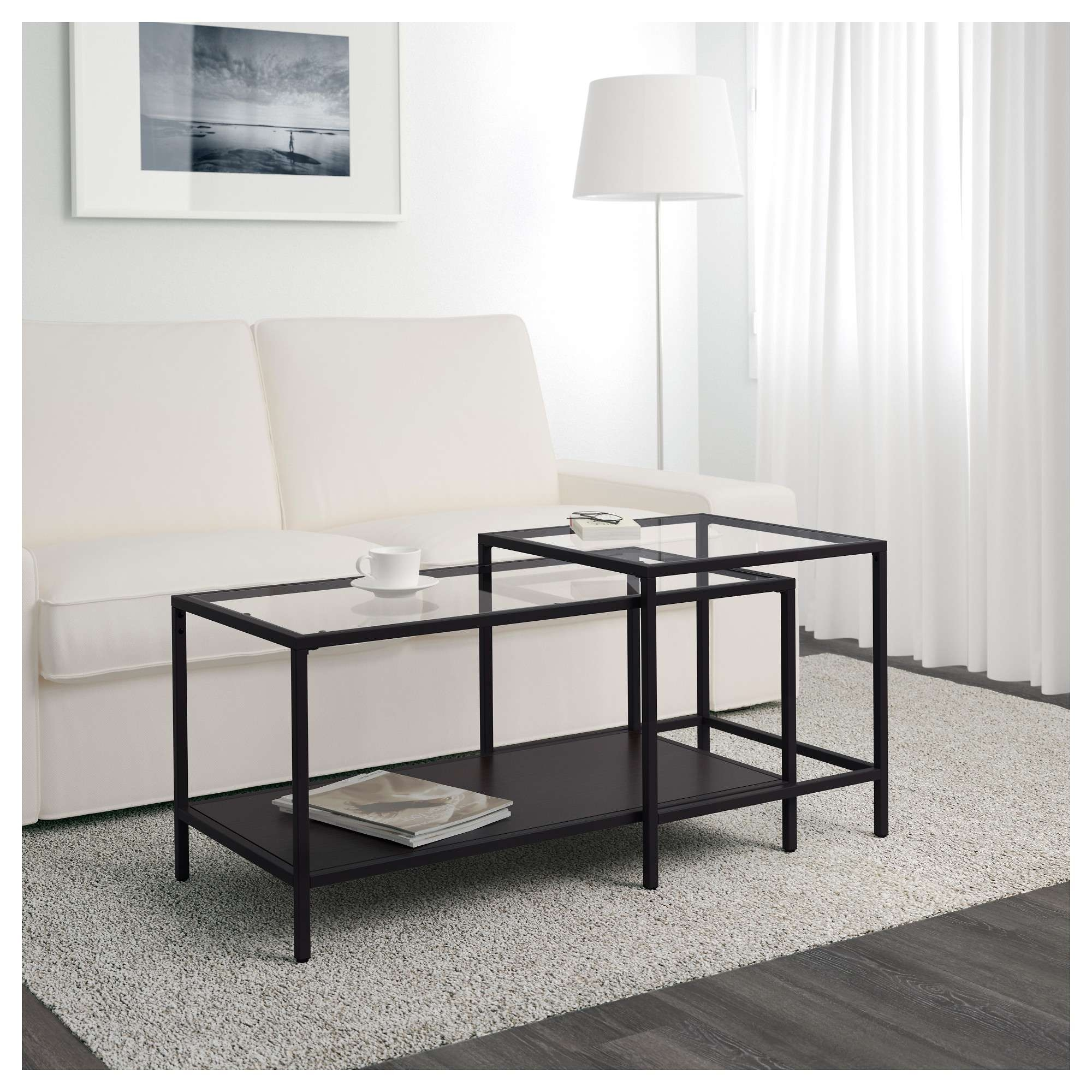 Well Liked 2 Piece Coffee Table Sets Regarding Vittsjö Nesting Tables, Set Of 2 – Black Brown/glass – Ikea (View 18 of 20)