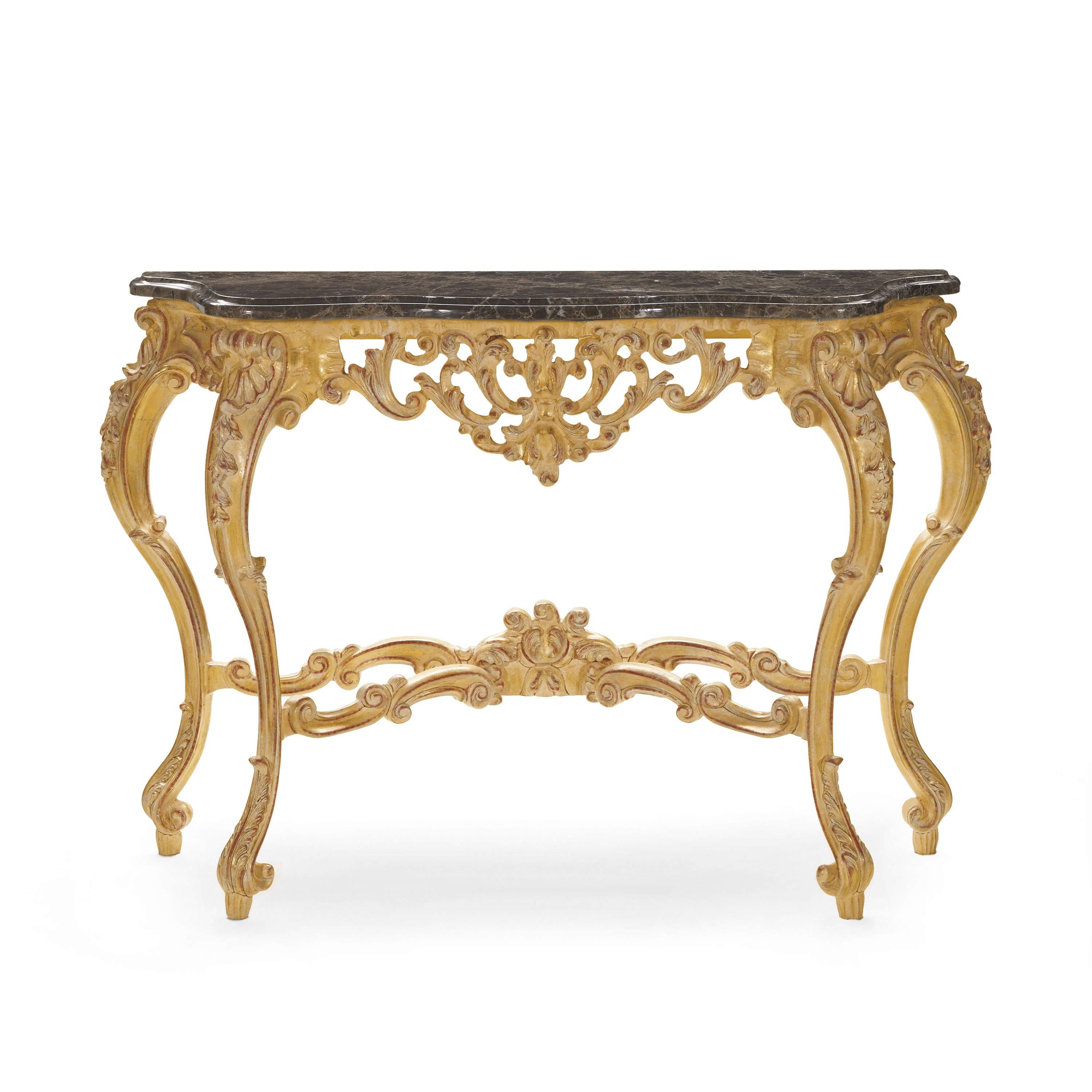 Well Liked Baroque Coffee Tables In Baroque Style Wood And Marble Console Table Selene 521 – Sevensedie (View 20 of 20)