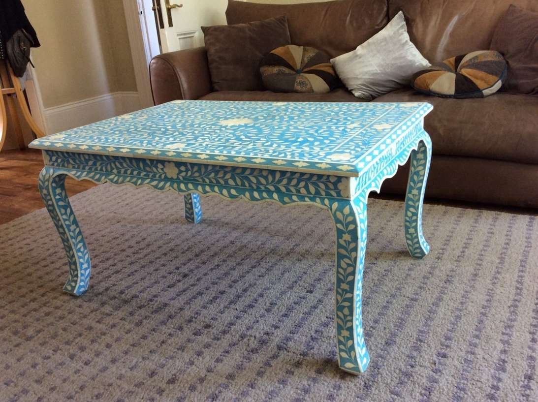 Well Liked Blue Coffee Tables Pertaining To Coffee Table, Wooden Blue Coffee Table Blue Coffee Table Decor (View 14 of 20)