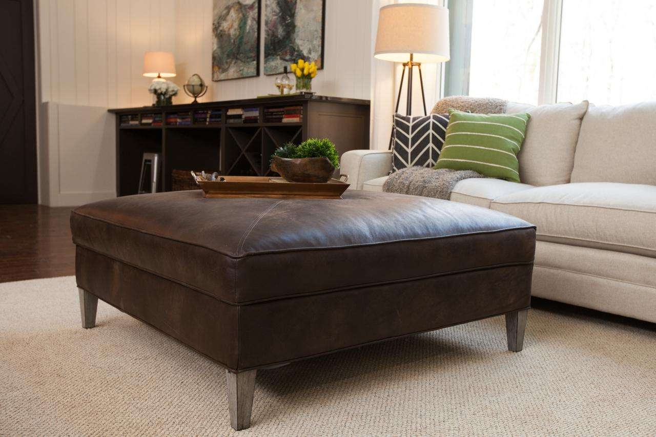 Well Liked Brown Leather Ottoman Coffee Tables In Coffee Tables Ideas: Leather Ottoman Coffee Table With Storage (View 20 of 20)