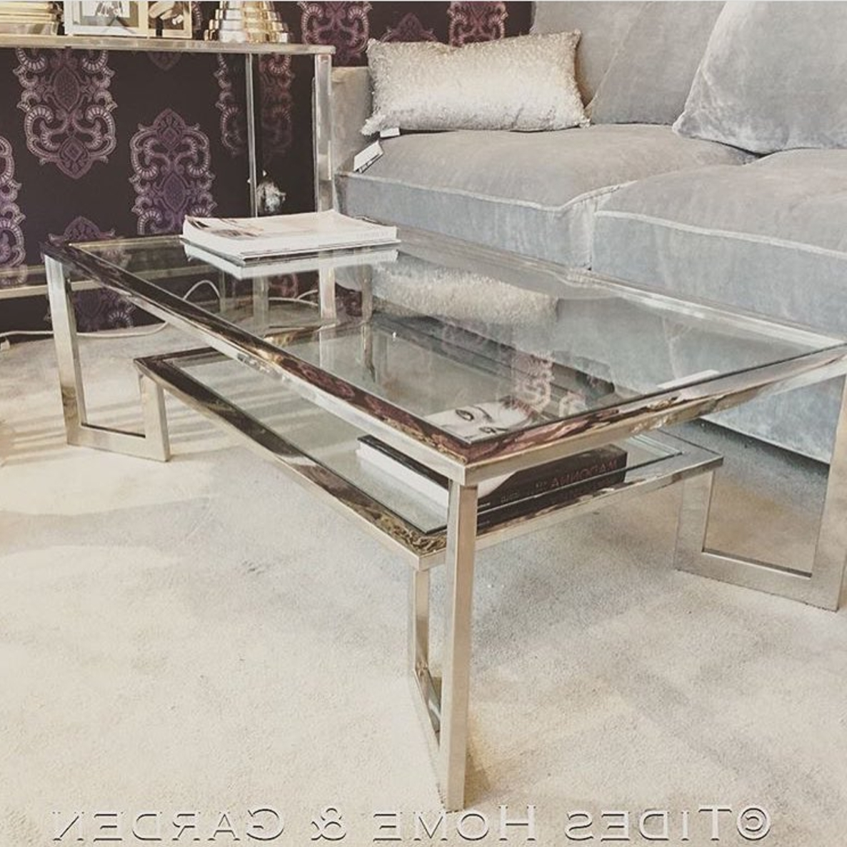 Well Liked Chrome And Glass Coffee Tables Within Chrome And Glass Dual Level Coffee Table (View 5 of 20)