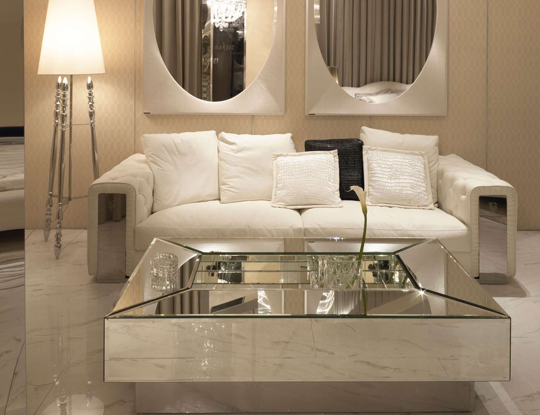 Well Liked Coffee Tables Mirrored With Regard To Modern Minimalist Living Room Design With Square Glass Top (View 18 of 20)