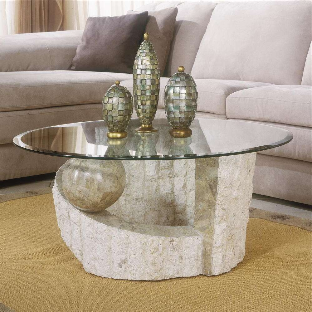 Well Liked Contemporary Round Coffee Tables With Regard To Magnussen Home Ponte Vedra Contemporary Round Glass Coffee Table (View 9 of 20)