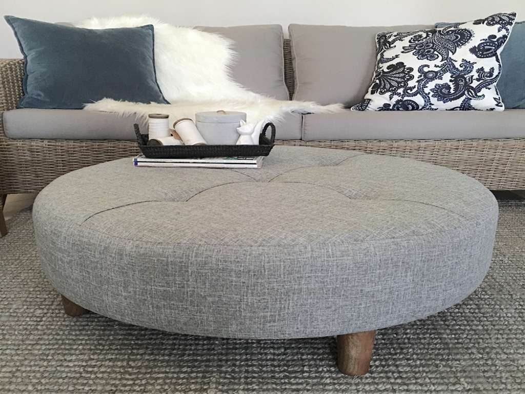 Well Liked Fabric Coffee Tables Intended For Furniture: Round Ottoman Coffee Table Luxury Large Grey Tufted (View 17 of 20)