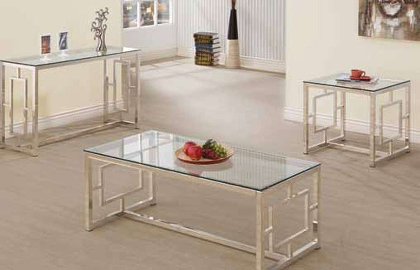 Well Liked Glass And Silver Coffee Tables In Contemporary Satin Glass Metal Coffee Table Set Living Room Table (View 19 of 20)