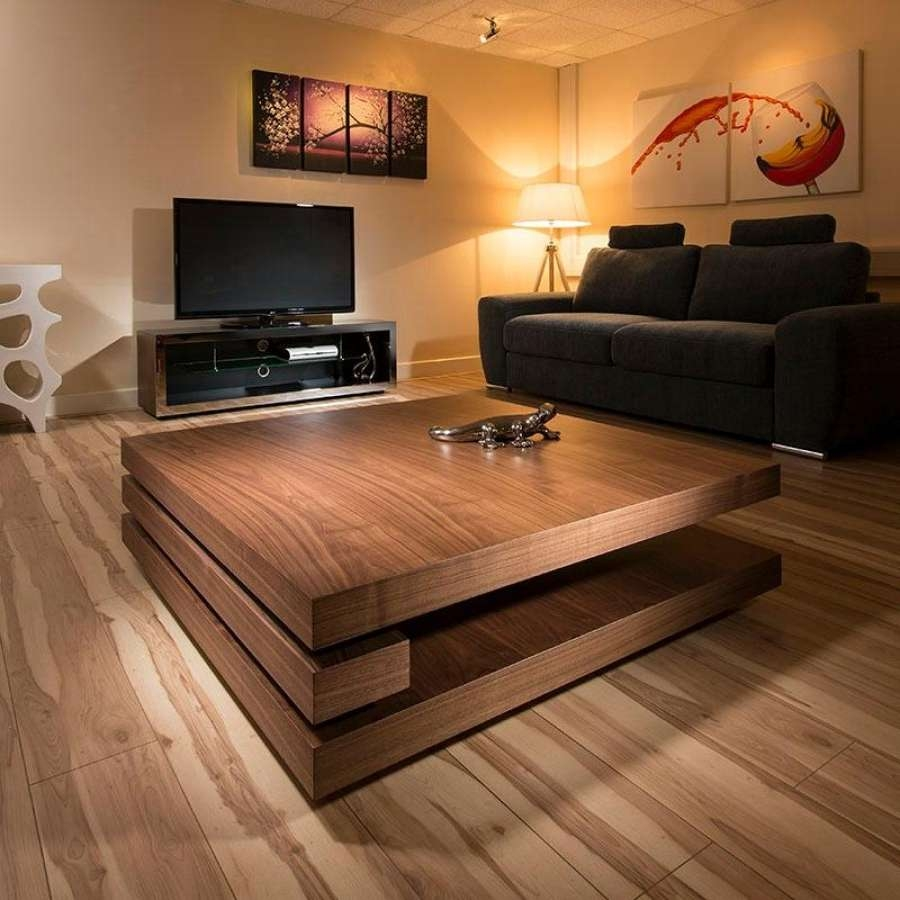 Well Liked Large Low Square Coffee Tables Intended For Coffee Table, Designer Square Low Walnut Square Coffee Table Wood (View 2 of 20)