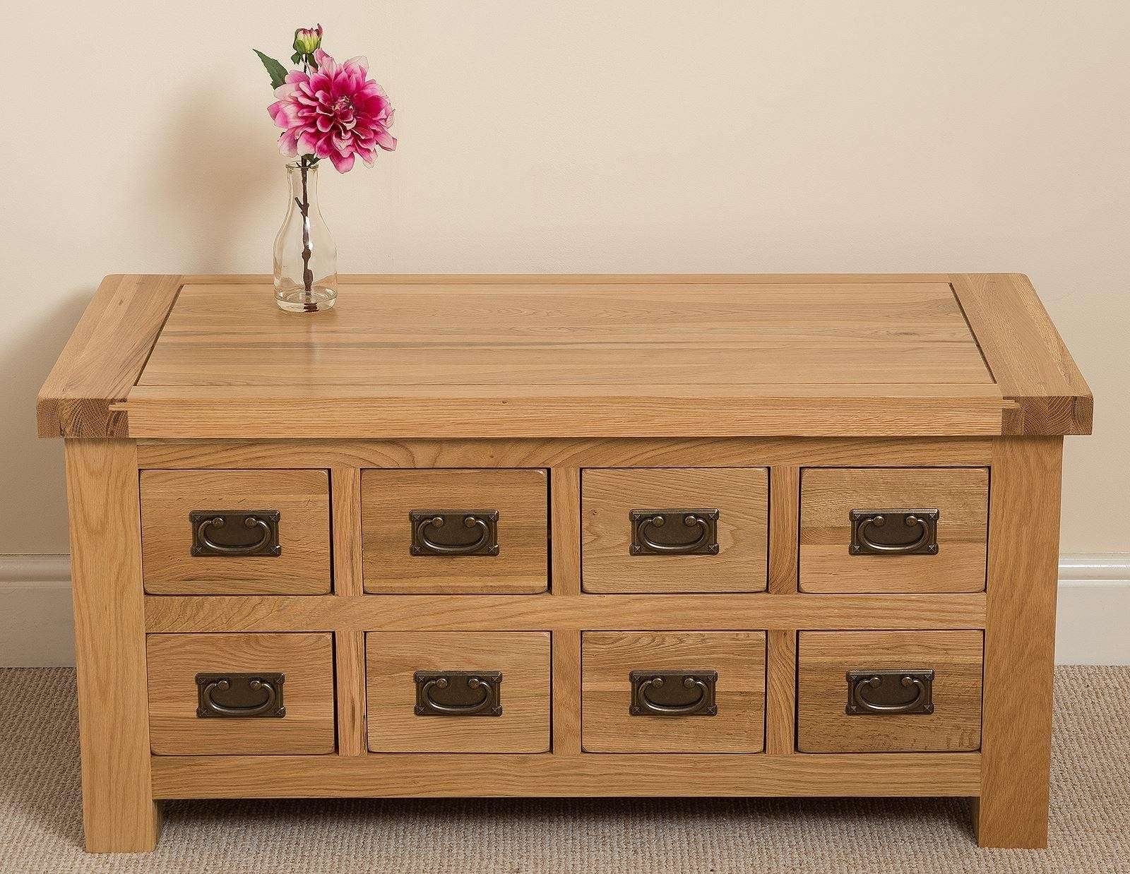 Well Liked Light Oak Coffee Tables With Drawers Regarding Cottage Oak Storage Coffee Table (View 20 of 20)