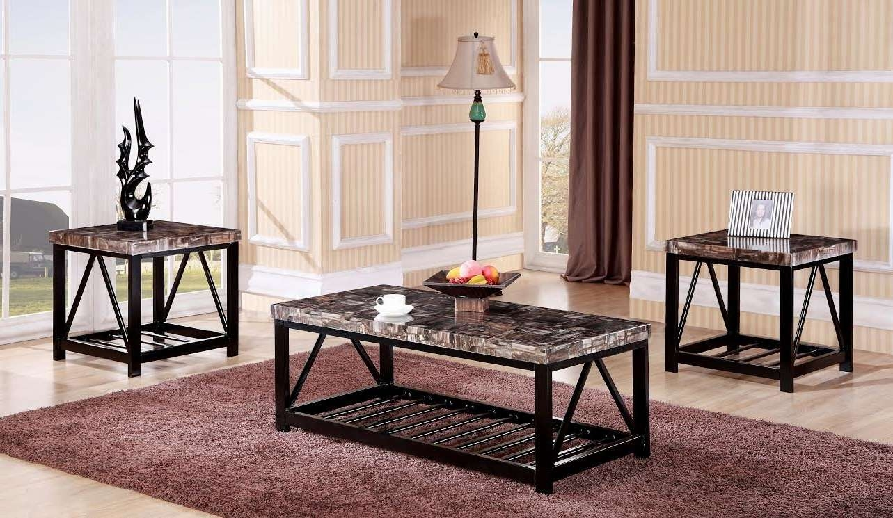 Well Liked Marble And Metal Coffee Tables With Regard To Red Barrel Studio Rosalin Faux Marble Metal Frame 3 Piece Coffee (View 7 of 20)