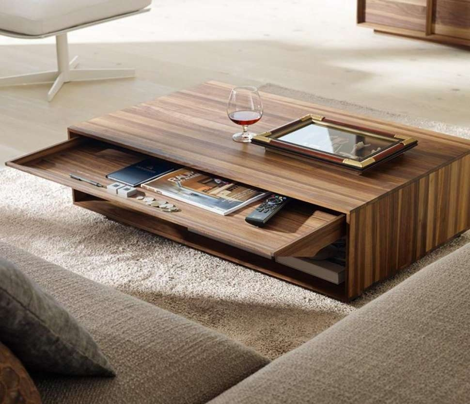 Well Liked Modern Coffee Tables With Storage Within Coffee Tables : Awesome Solid Wood Modern Coffee Table Design In (View 20 of 20)